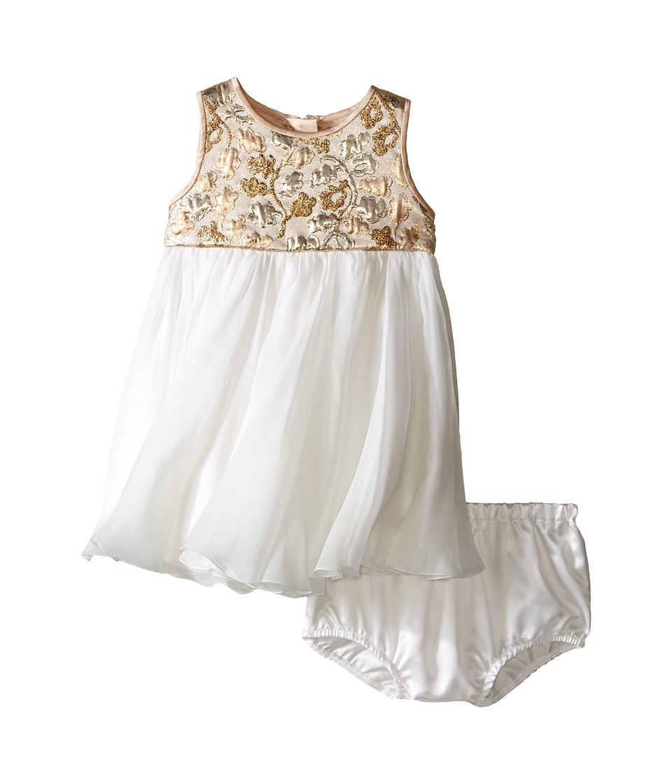 Dolce & Gabbana Kids - Floral Jacquard Dress (Infant) (White/Gold) Girl's Dress