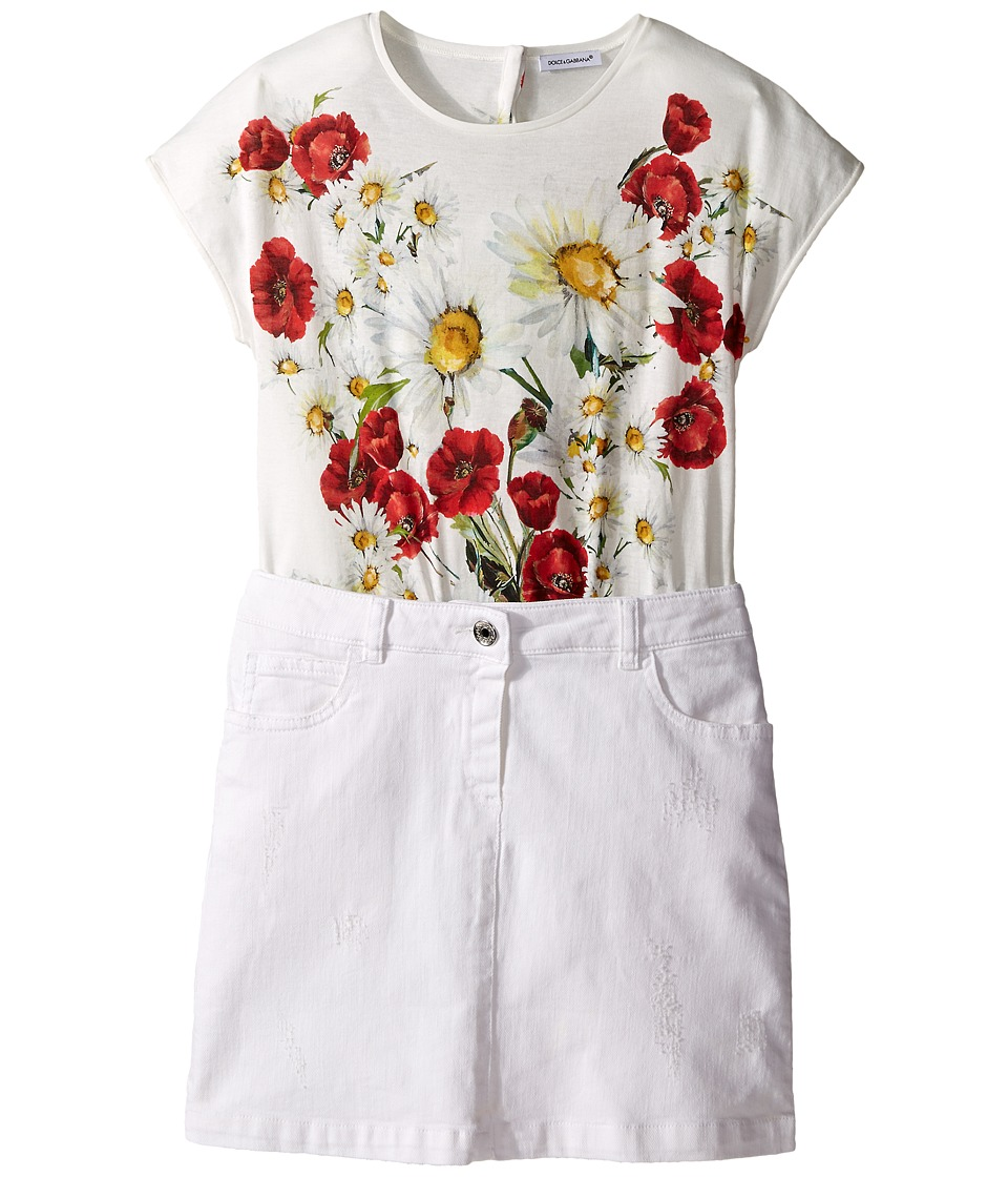 Dolce & Gabbana Kids - Fiori Combo Dress (Big Kids) (Antique White) Girl's Dress