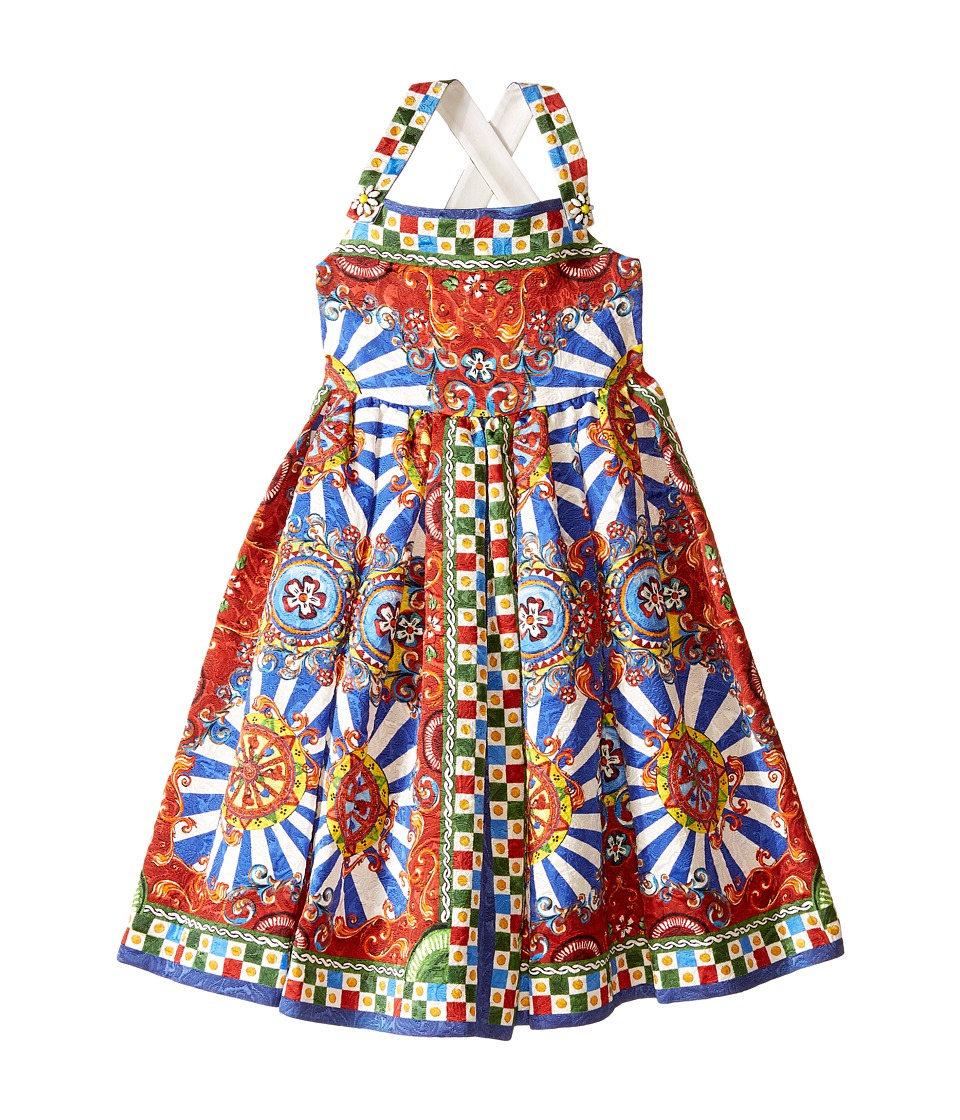 Dolce & Gabbana Kids - Wheel Crisscross Back Dress (Big Kids) (Multi Print) Girl's Dress