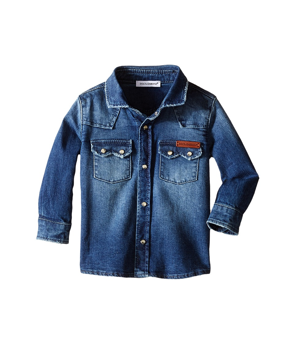 Dolce & Gabbana Kids - Denim Western Shirt (Infant) (Medium Blue) Boy's Long Sleeve Button Up