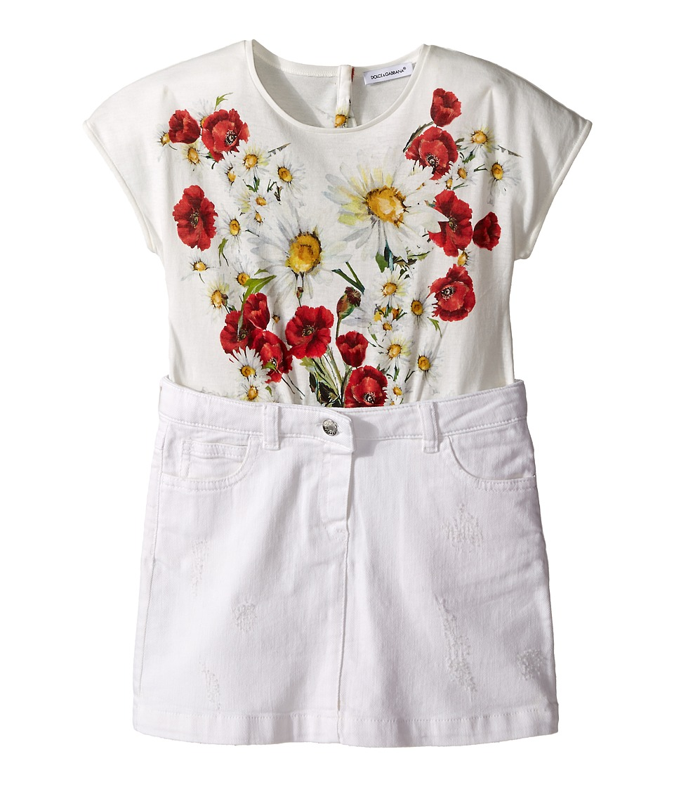 Dolce & Gabbana Kids - Fiori Combo Dress (Toddler/Little Kids) (Antique White) Girl
