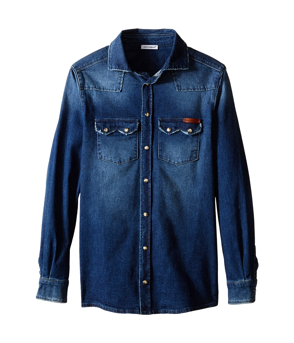Dolce & Gabbana Kids - Denim Western Shirt (Big Kids) (Medium Blue) Boy's Long Sleeve Button Up