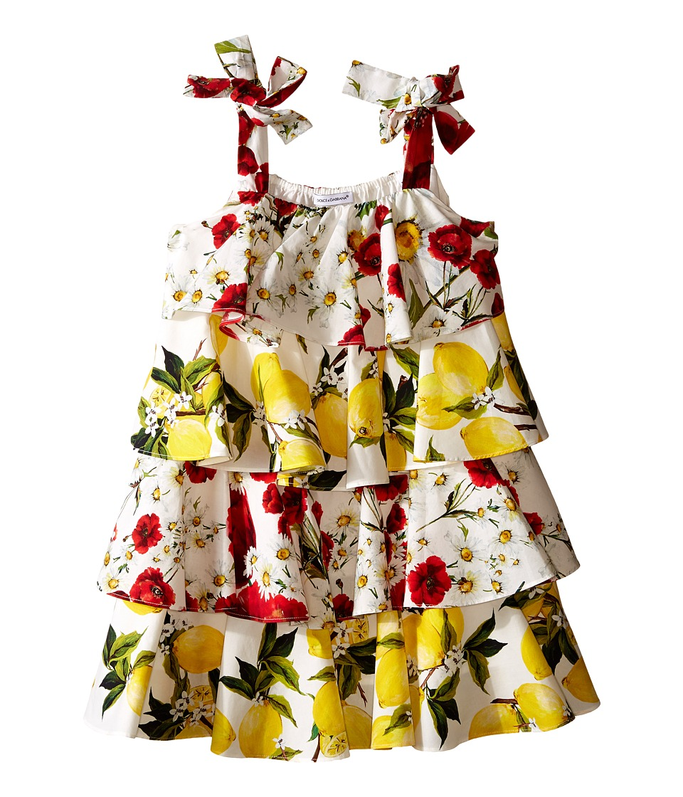 Dolce & Gabbana Kids - Margherita Ruffle Dress (Toddler/Little Kids) (White Print) Girl's Dress