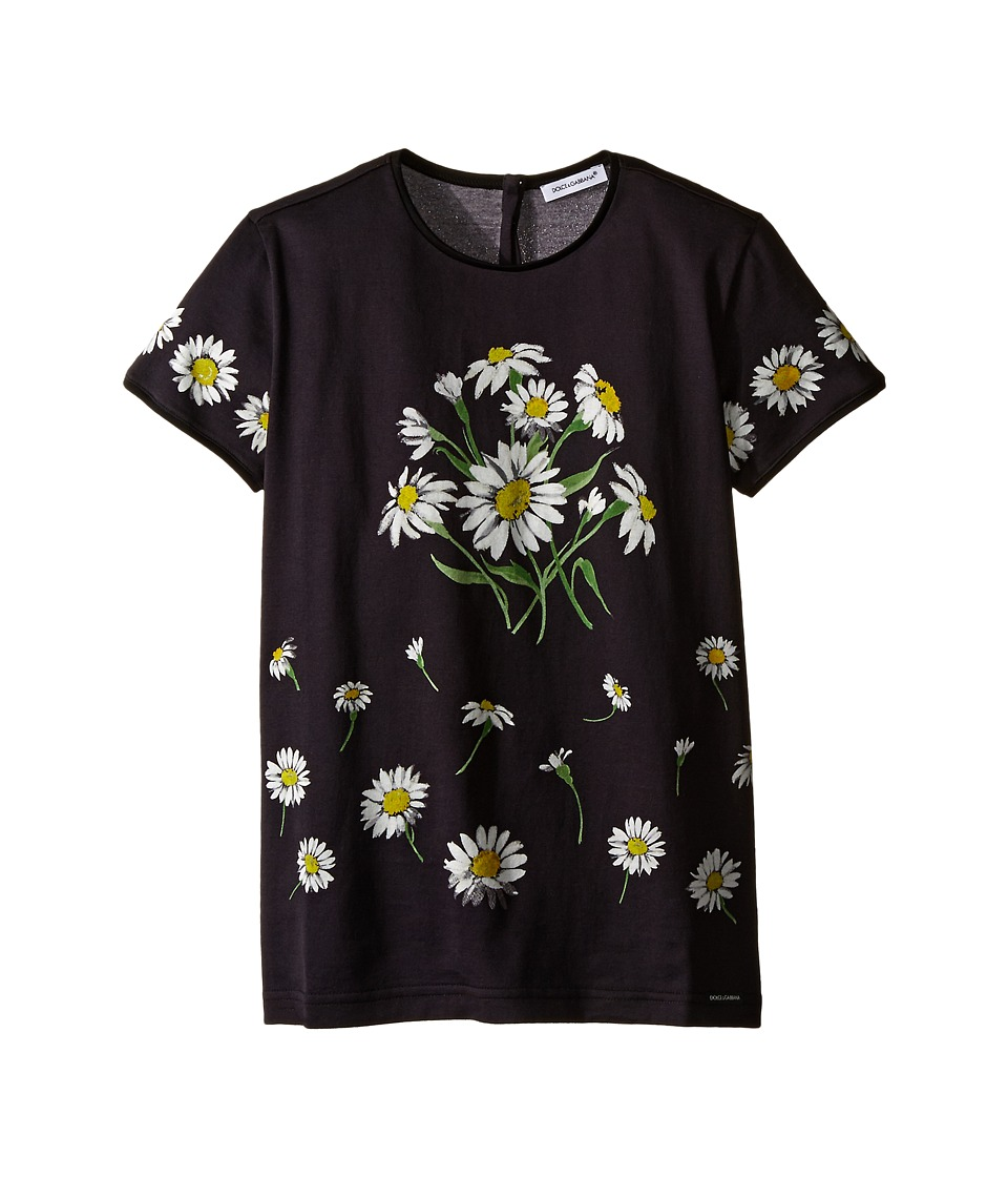 Dolce & Gabbana Kids - Margherite Jersey T-Shirt (Big Kids) (Black Daisy Print) Girl's T Shirt