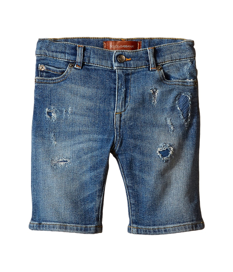 Dolce & Gabbana Kids - Distressed Denim Shorts in Medium Blue (Toddler/Little Kids) (Medium Blue) Boy's Shorts