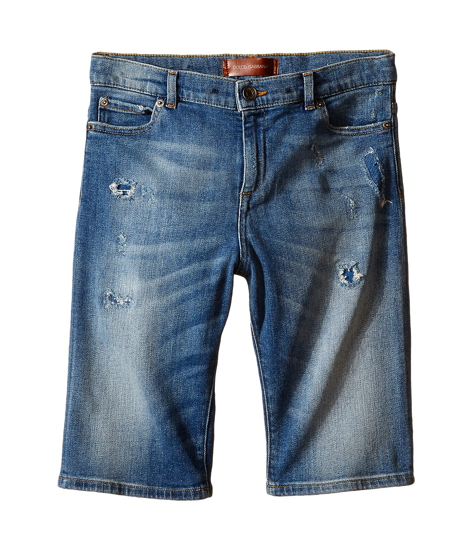 Dolce & Gabbana Kids - Distressed Denim Shorts in Medium Blue (Big Kids) (Medium Blue) Boy's Shorts