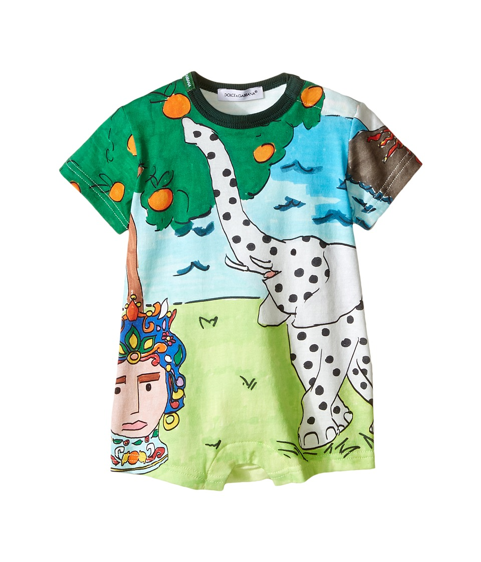 Dolce & Gabbana Kids - Elephant One-Piece (Infant) (Multi Print) Boy's Jumpsuit & Rompers One Piece
