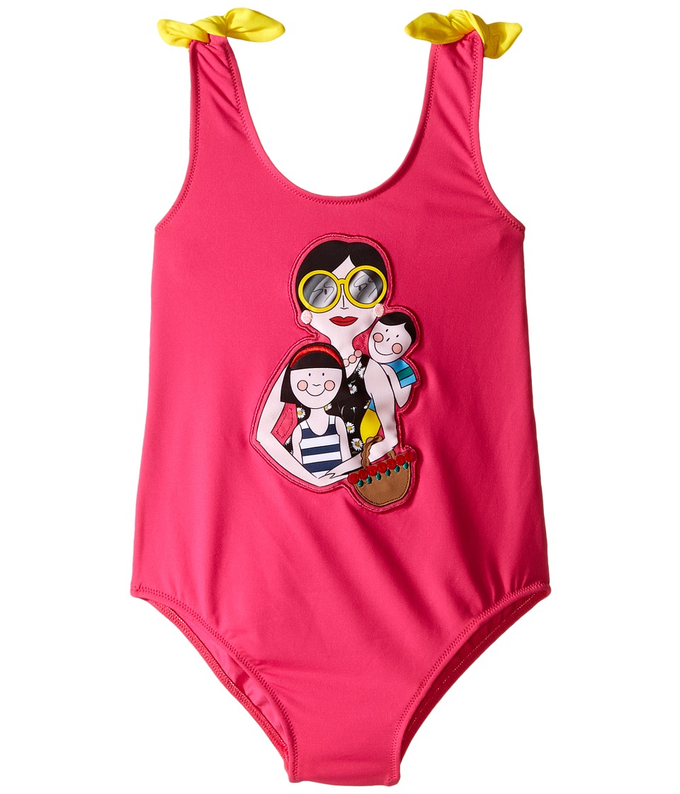 Dolce & Gabbana Kids - Familia One-Piece Swimsuit (Toddler/Little Kids) (Fuchsia) Girl's Swimsuits One Piece