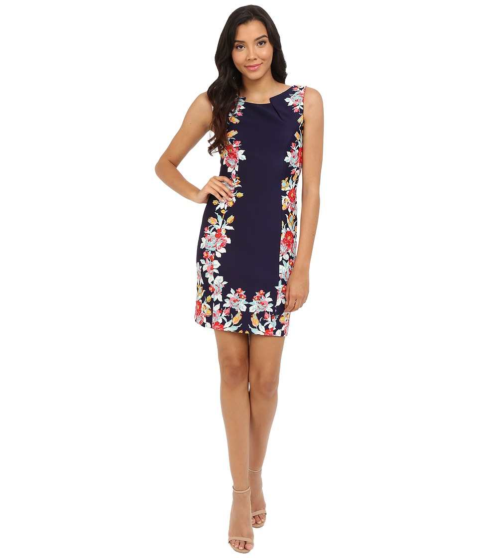 Tahari by ASL - Vicky - P Knit Dress (Navy/Hibiscus) Women's Dress