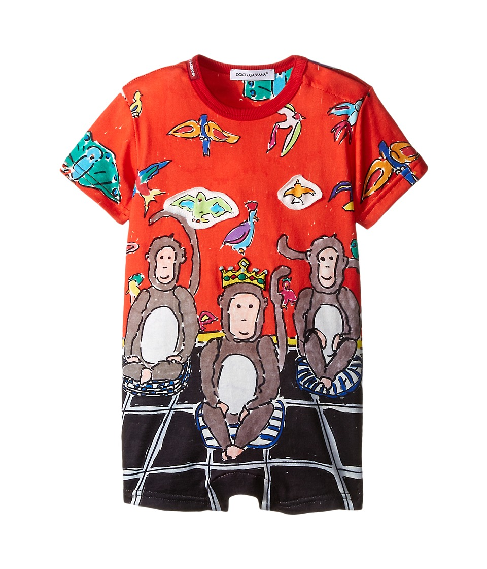 Dolce & Gabbana Kids - 3 Monkeys One-Piece (Infant) (Red Monkey) Boy's Jumpsuit & Rompers One Piece