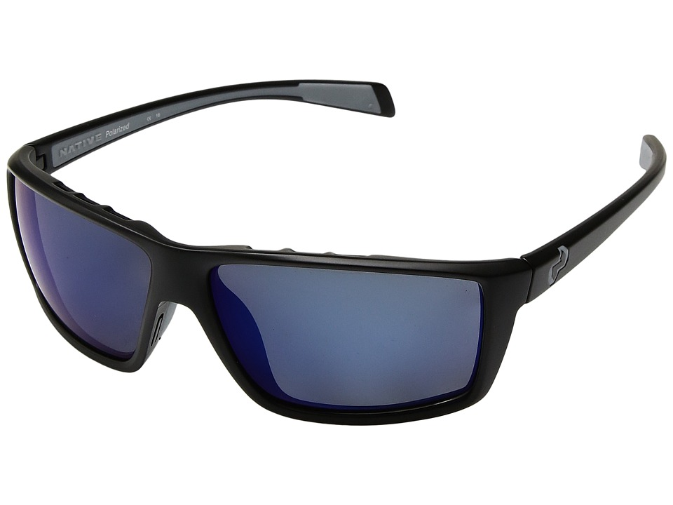 Native Eyewear - Sidecar (Asphalt/Blue Reflex) Athletic Performance Sport Sunglasses