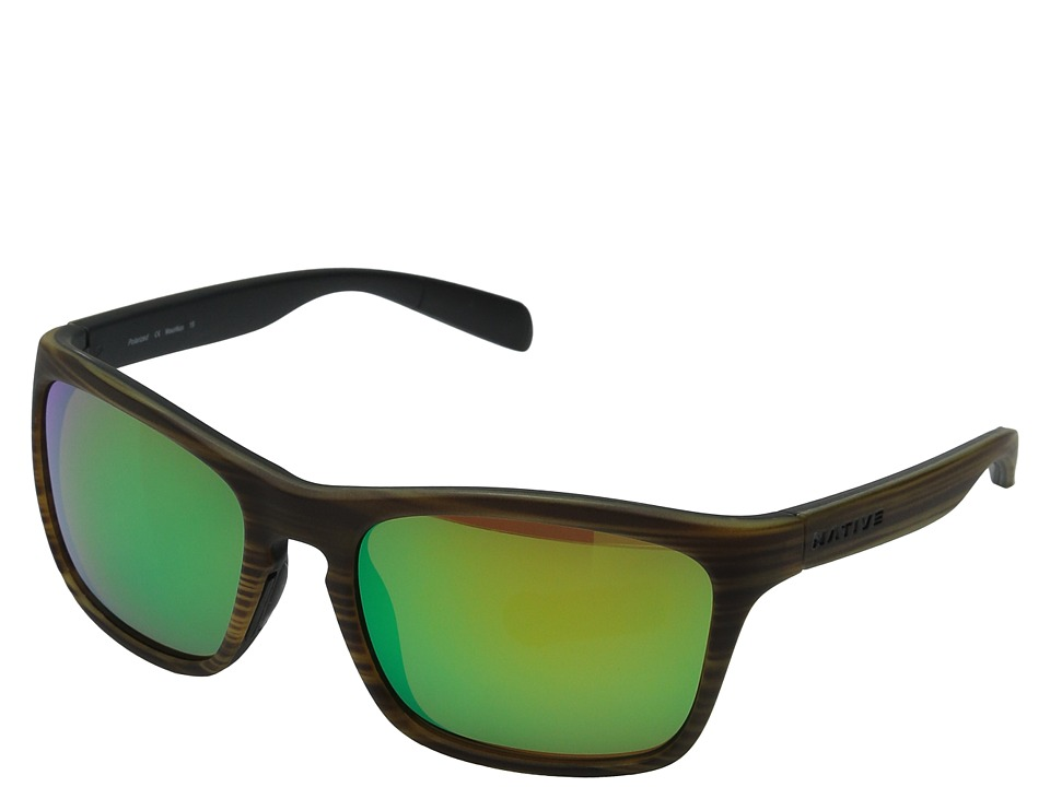 Native Eyewear - Penrose (Wood/Black/Green Reflex) Sport Sunglasses