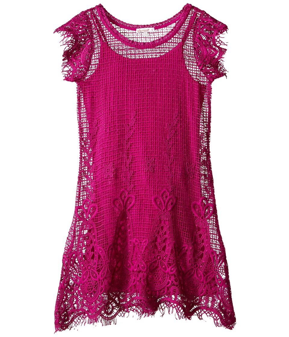Ella Moss Girl - Short Sleeve Shift Crochet Dress w/ Cami Dress (Big Kids) (Hot Pink) Girl's Dress
