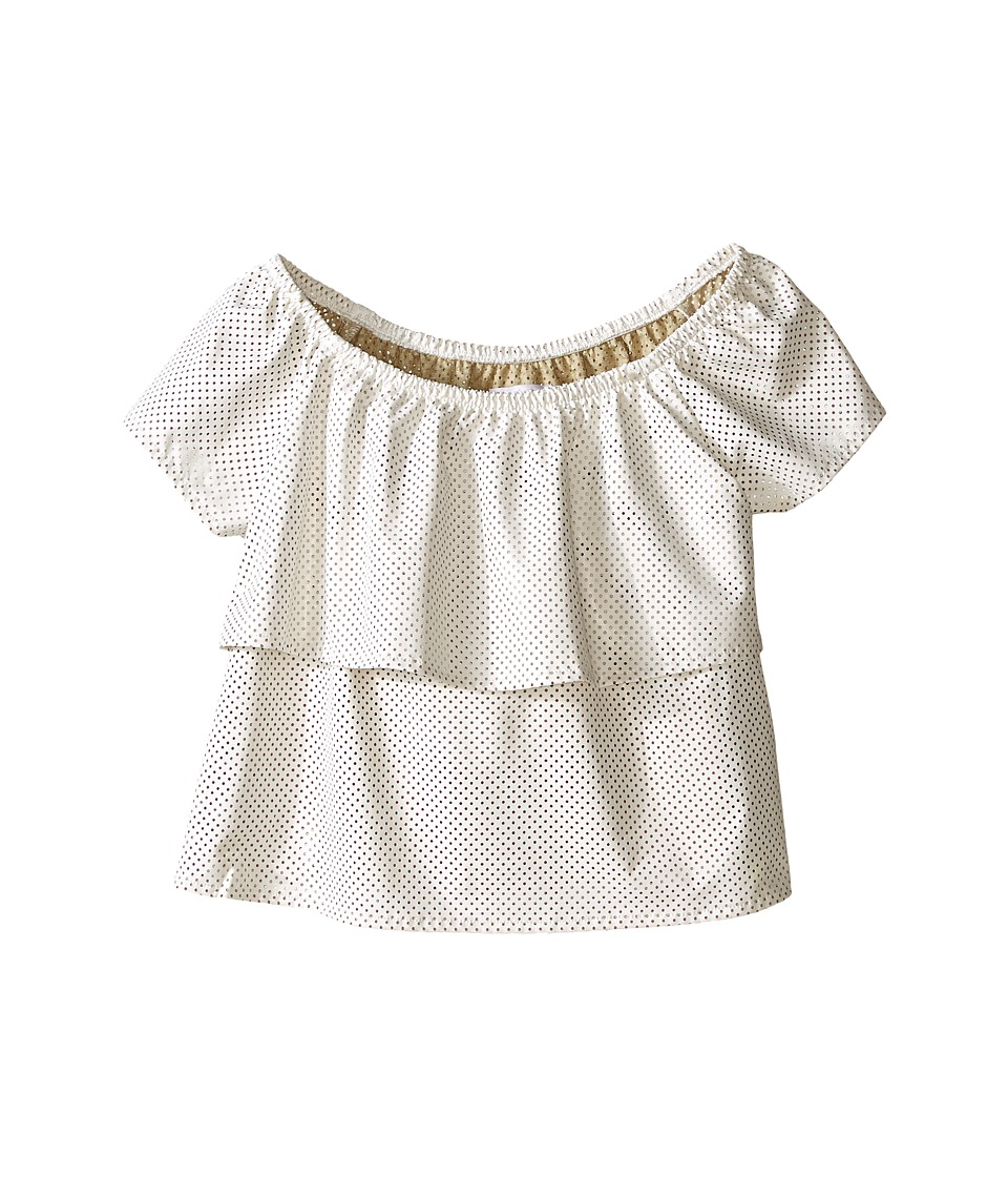 Ella Moss Girl - Nina Short Sleeve Ruffle Faux Leather Top - Unlined (Big Kids) (Off-White) Girl's Blouse