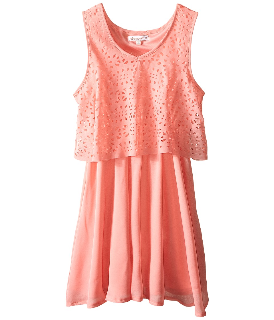 Ella Moss Girl - Lucia Laser Cut Detail Dress (Big Kids) (Peach) Girl's Dress