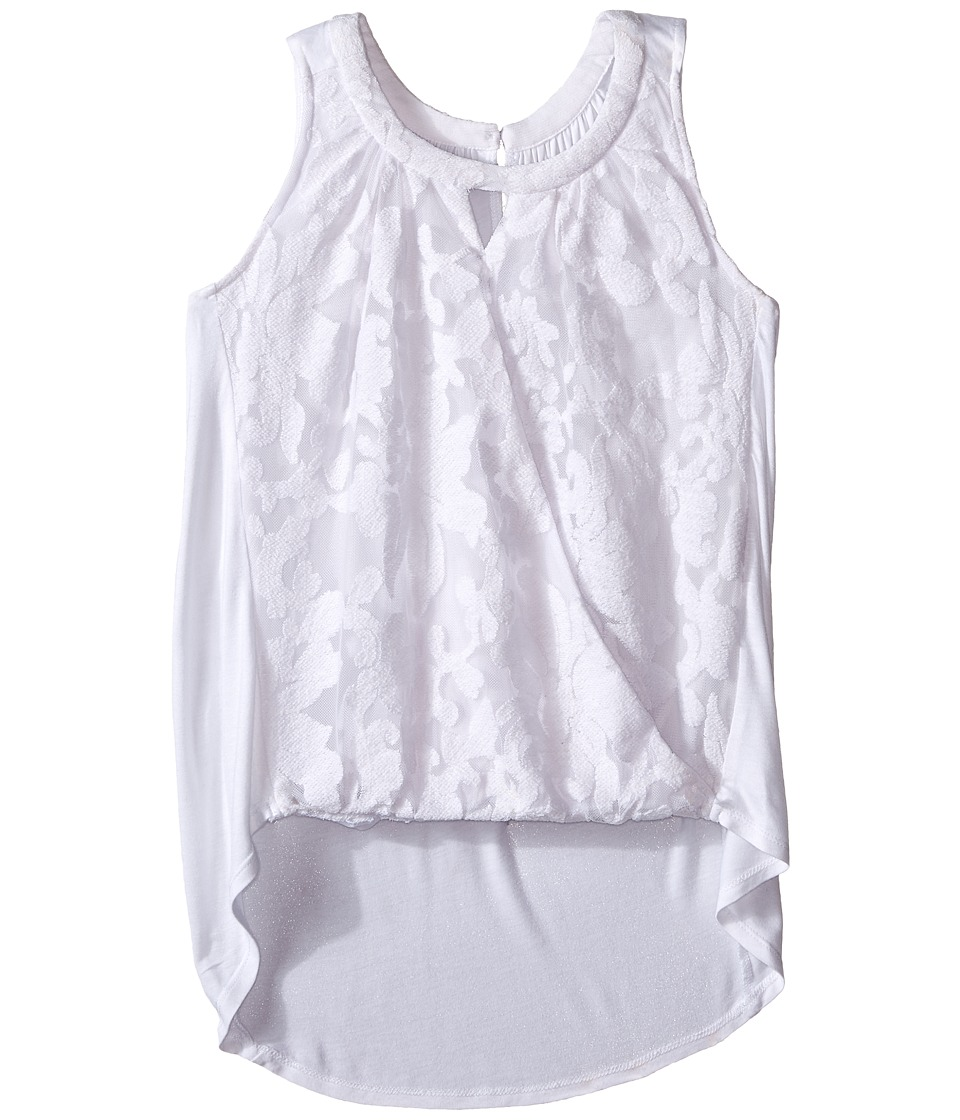 Ella Moss Girl - Burnout Lace Tank Top w/ Tulip (Big Kids) (White) Girl's Sleeveless