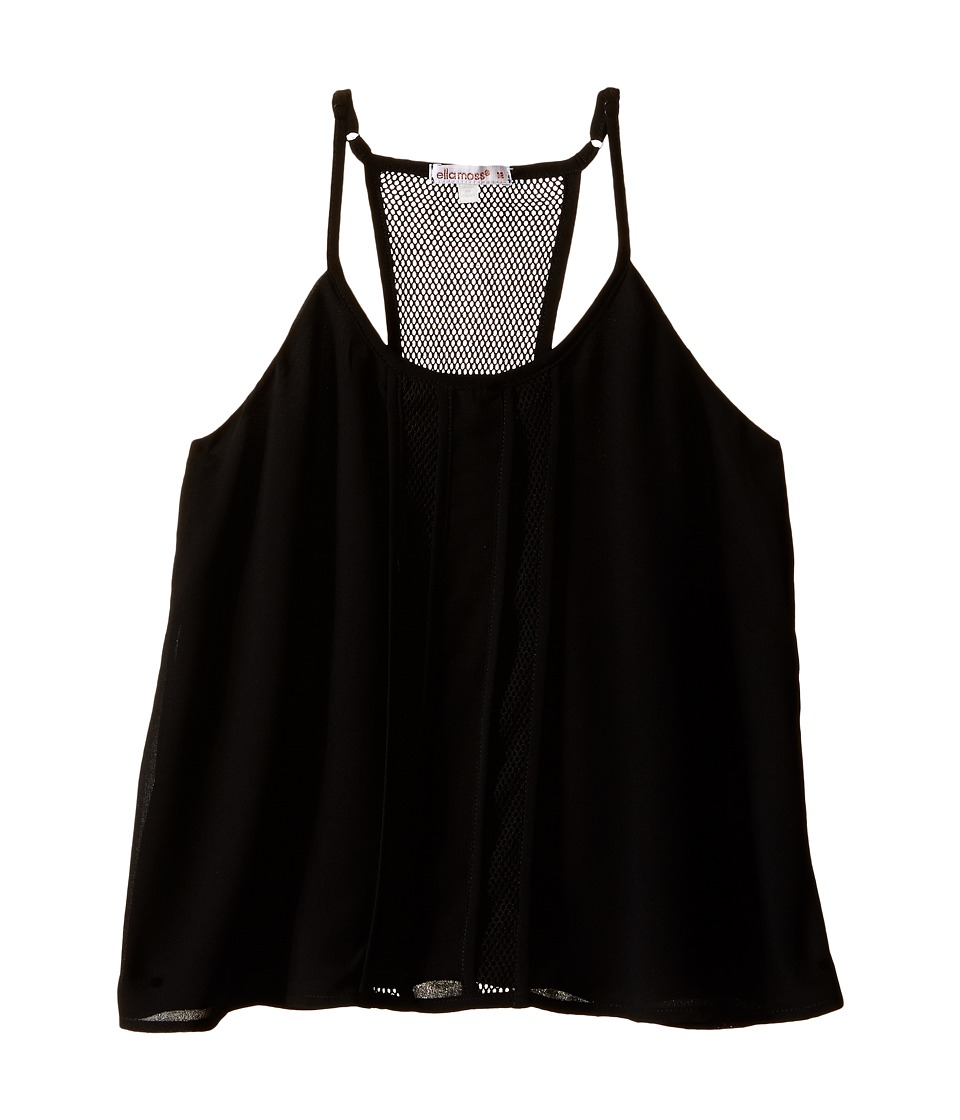 Ella Moss Girl - Beverly Pleated Woven Tank Top (Big Kids) (Black) Girl's Sleeveless