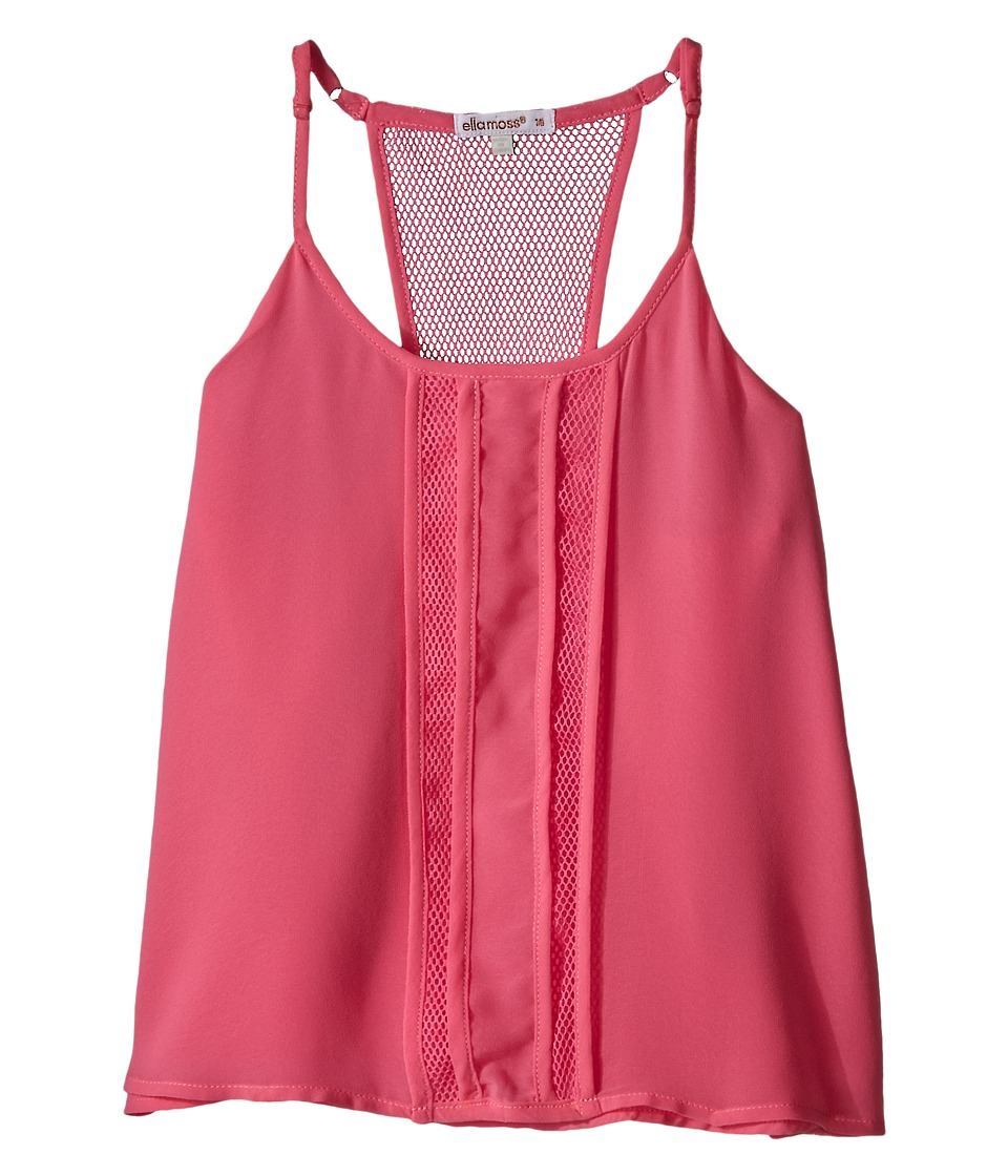 Ella Moss Girl - Beverly Pleated Woven Tank Top (Big Kids) (Pink) Girl's Sleeveless