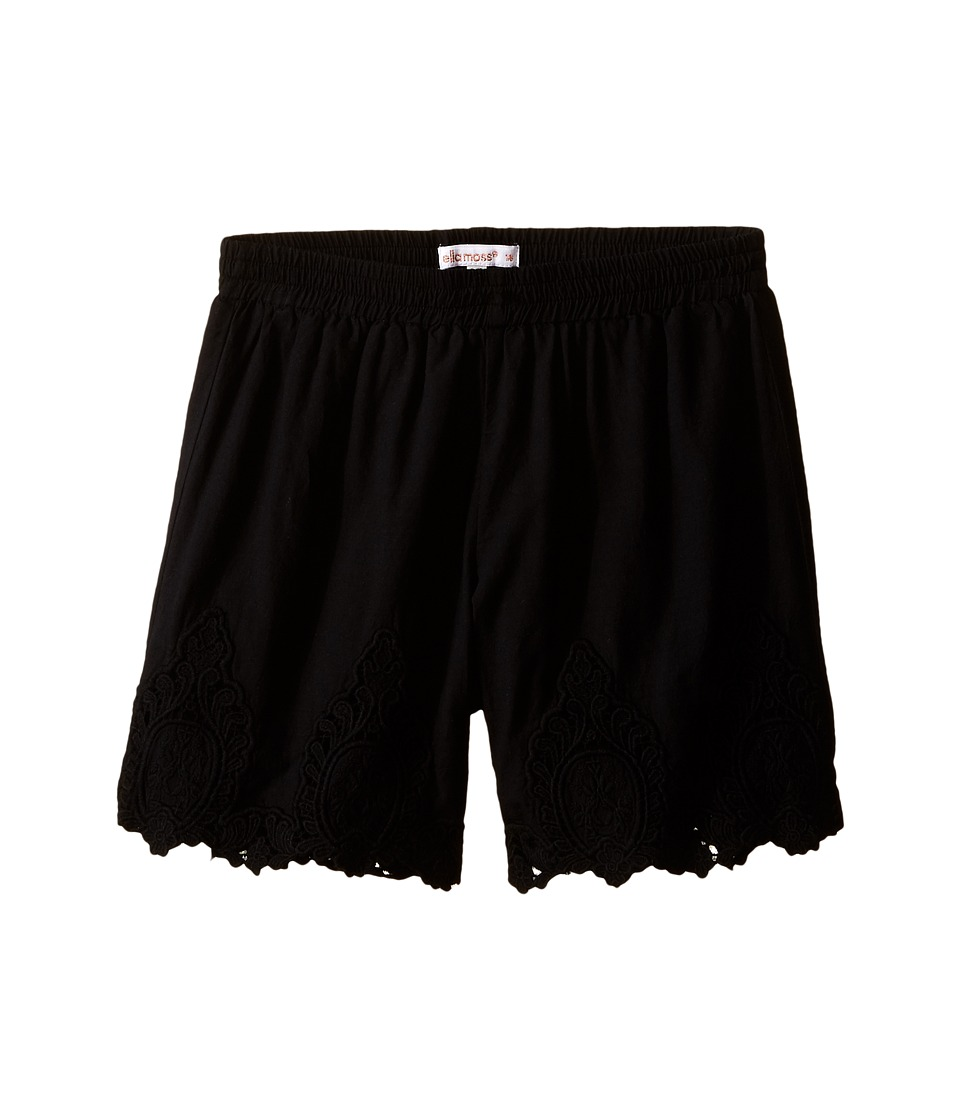Ella Moss Girl - Bria Shorts w/ Schiffili Embelishment (Big Kids) (Black) Girl's Shorts