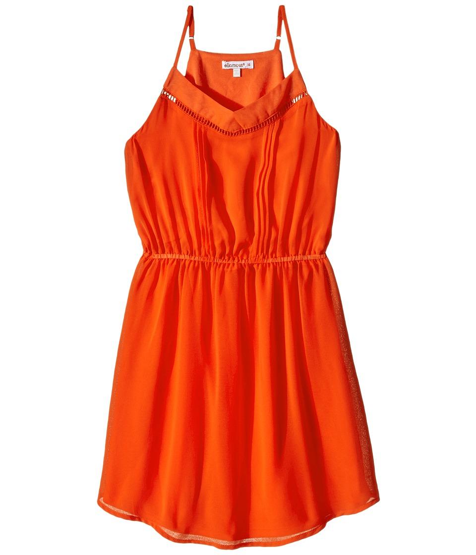 Ella Moss Girl - Elastic Waist Pleated Dress (Big Kids) (Orange) Girl's Dress