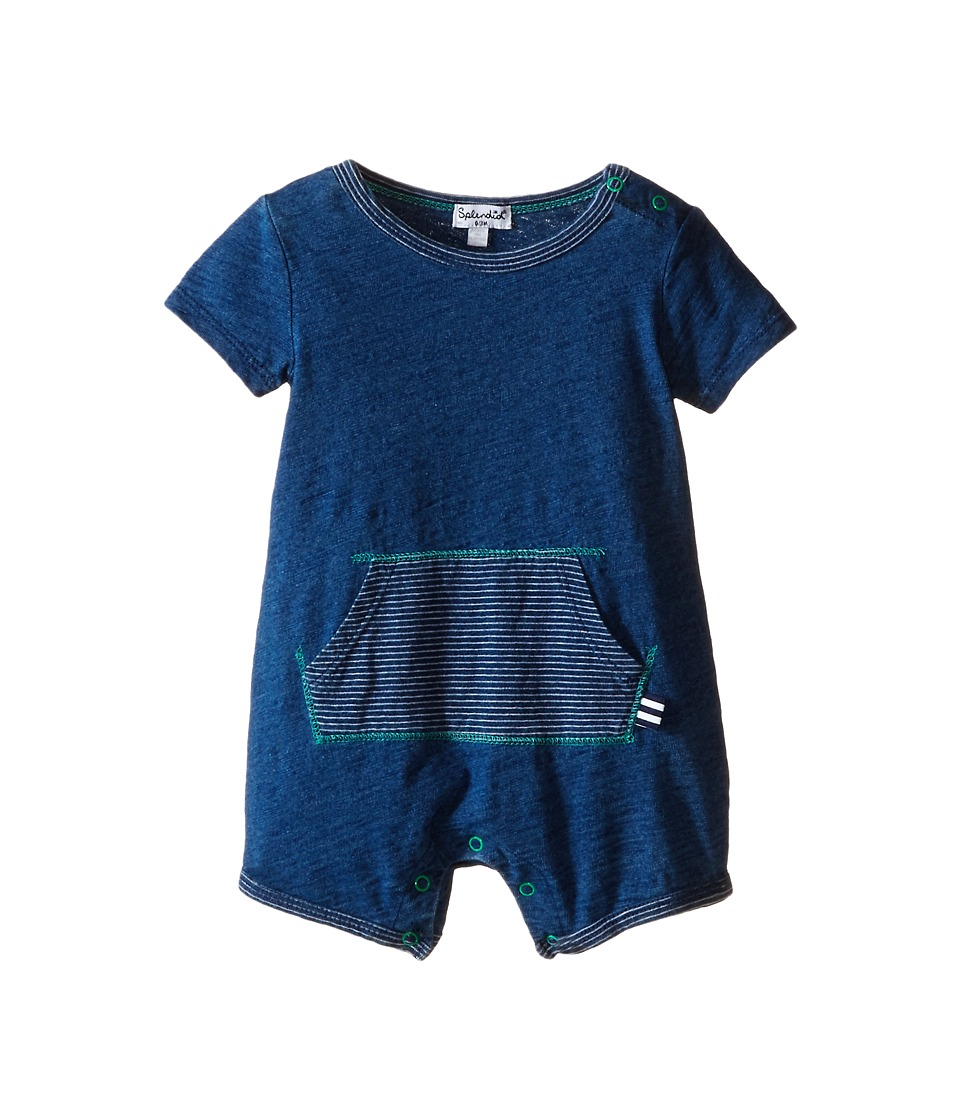 Splendid Littles - Indigo Short Sleeve Romper with Striped Kangaroo Pocket (Infant) (Medium Stone) Boy's Jumpsuit & Rompers One Piece