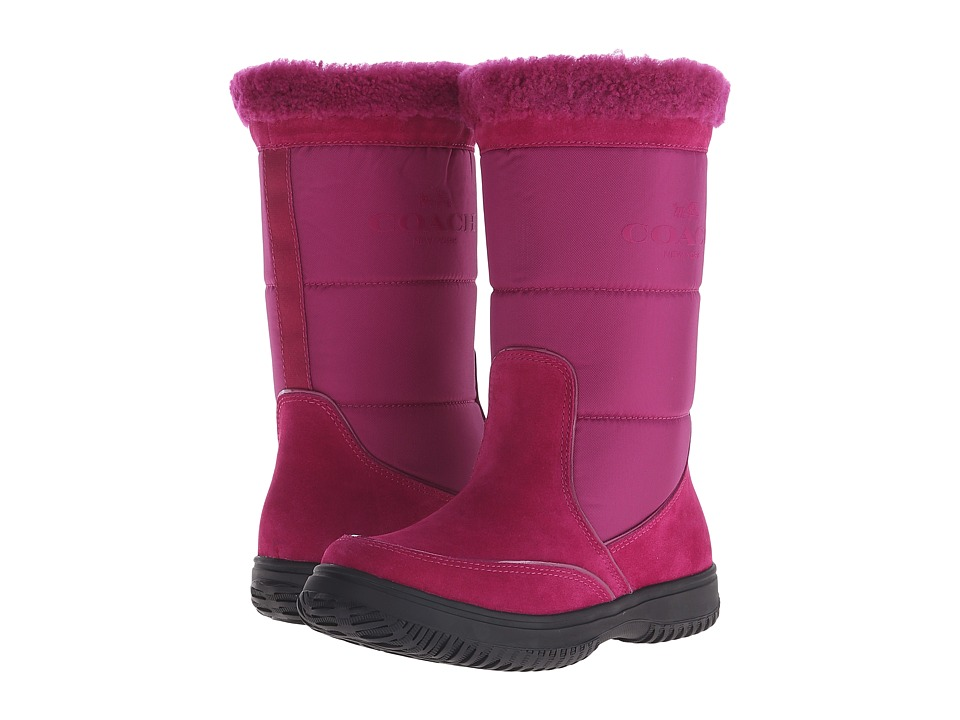 COACH - Sherman (Cranberry/Cranberry Suede/Nylon) Women's Pull-on Boots