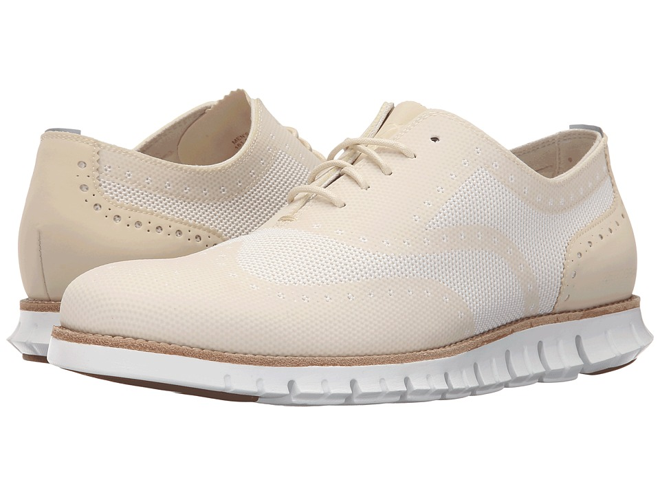 Cole Haan - Cole Haan Zerogrand OX No Stitch (Ivory/Optic White) Men's Lace Up Wing Tip Shoes