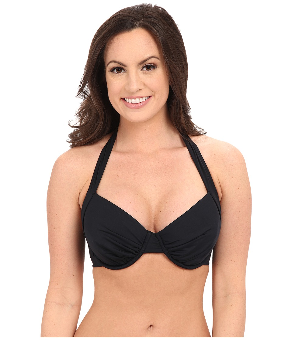 Vitamin A Swimwear Brittany D/DD Underwire Halter Top (Eco Black) Women