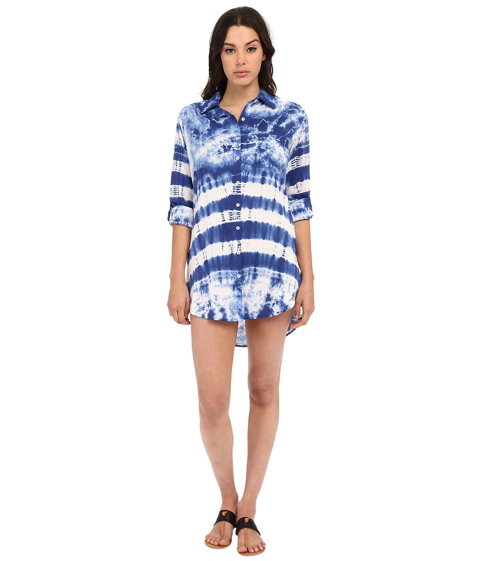 La Blanca - Tangier Shirtdress Cover-Up (Blueberry) Women's Swimwear