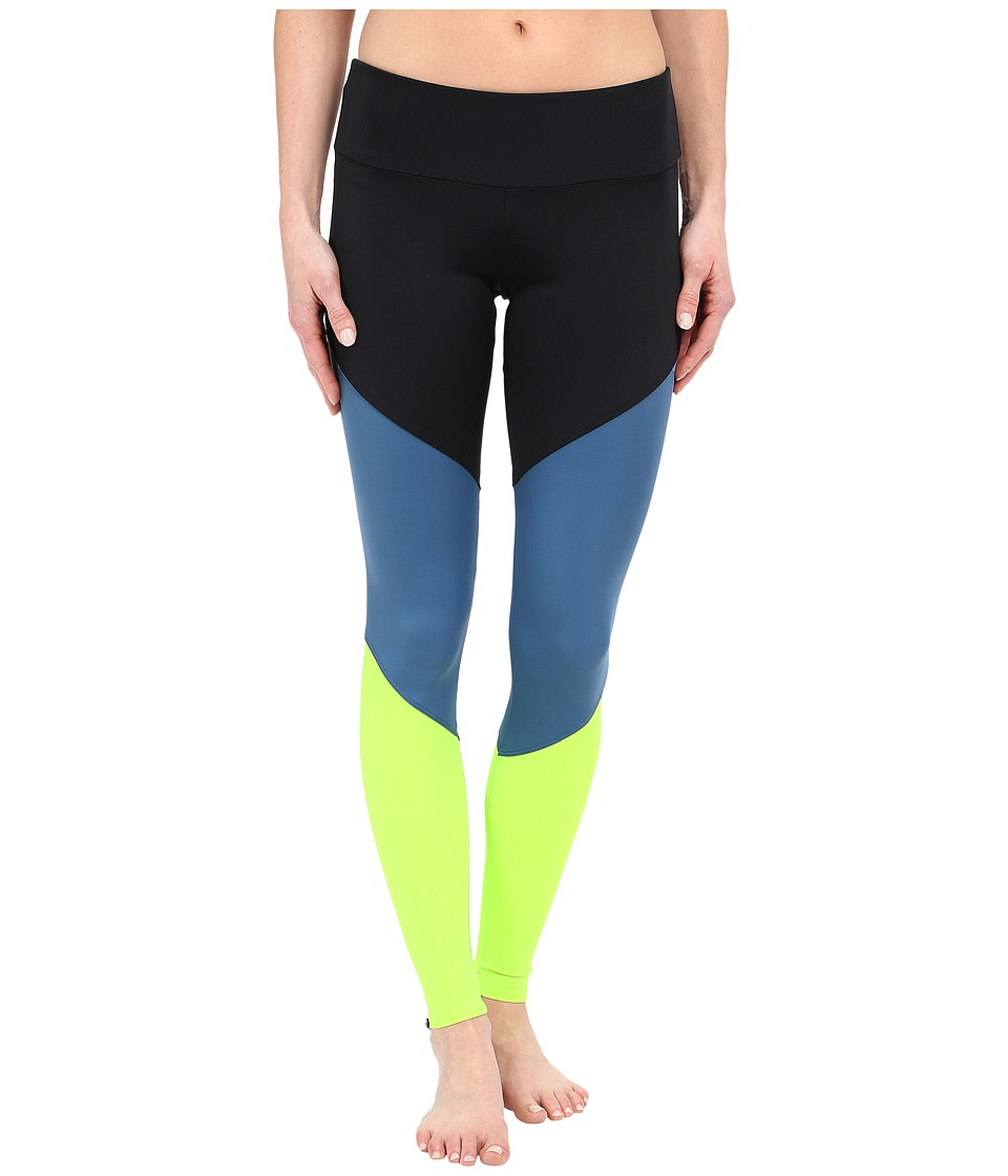 Onzie - Lemon Lime Track Leggings (Black/Jean/Lemon Lime) Women's Casual Pants