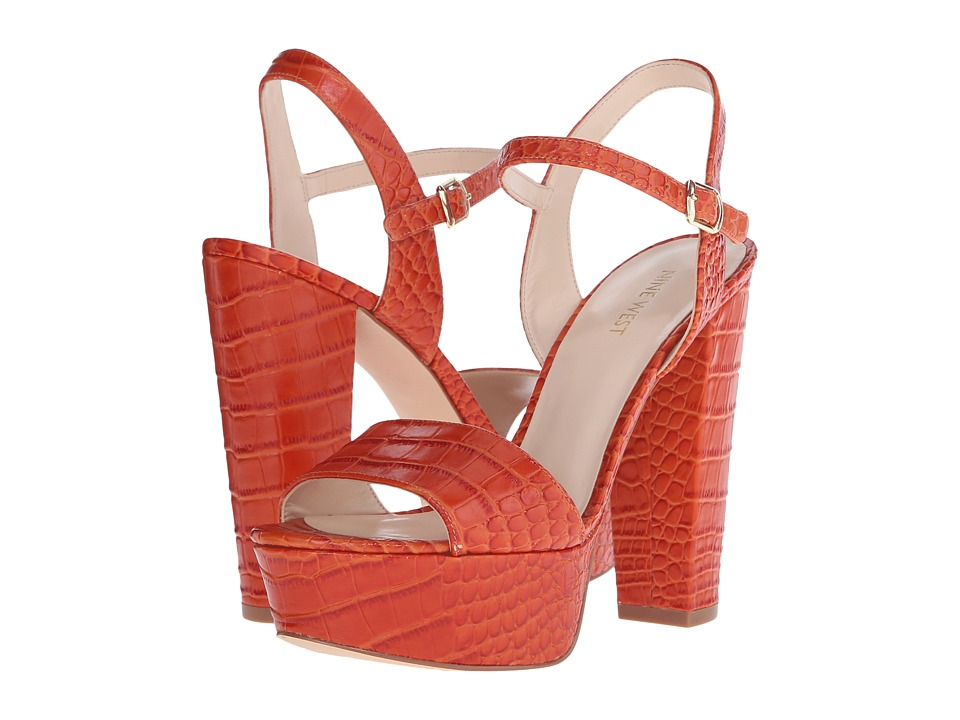Nine West - Carnation (Red Orange Croco) High Heels