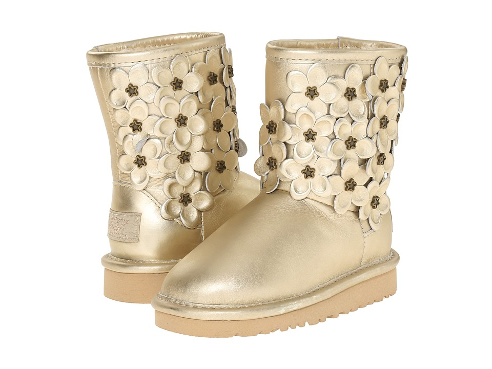 UGG Kids - Classic Short Flora (Toddler/Little Kid) (Soft Gold Leather) Girls Shoes