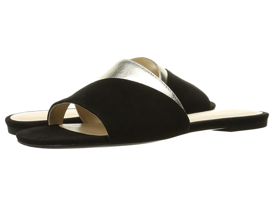 Nine West - Dante (Black/Light Gold Suede) Women's Slide Shoes