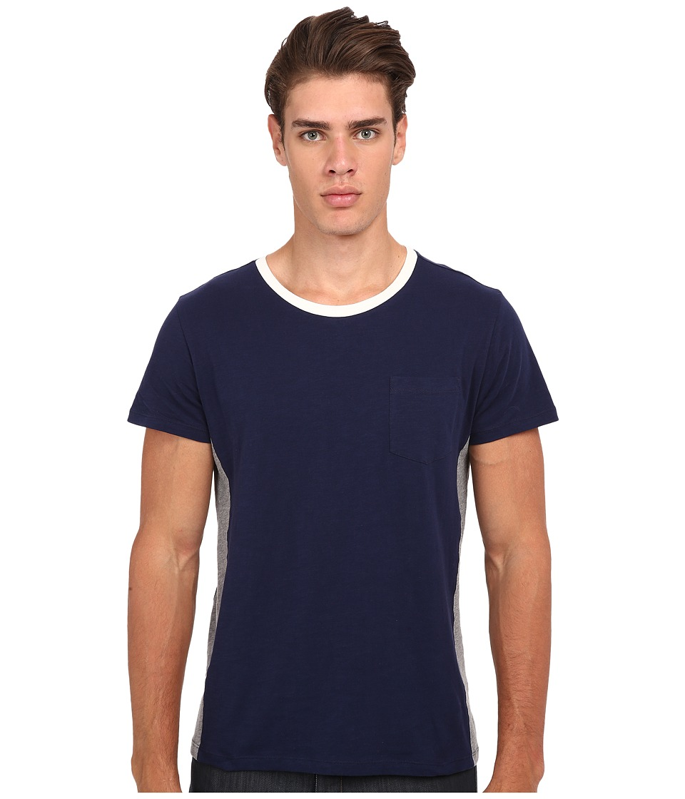Gant Rugger - R. Cut and Sewn Sidepanel (Marine) Men's T Shirt