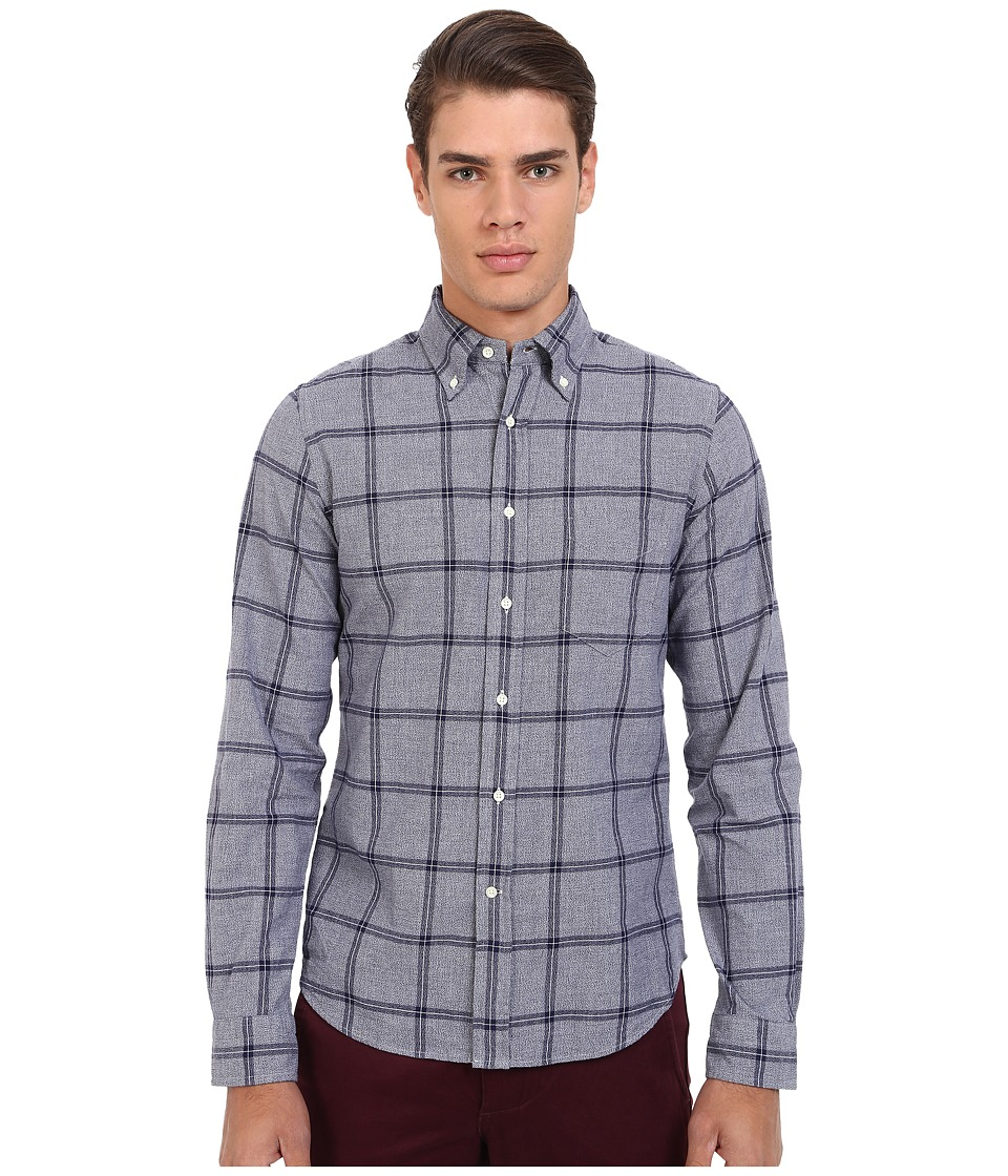 Gant Rugger - R. Melange Dobby Hugger (Fit) Oxford Button Down (Persian Blue) Men's Long Sleeve Button Up