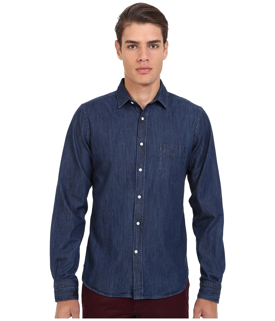 Gant Rugger - R. Indigo Denim Town Collar (Mid Blue) Men's Long Sleeve Button Up