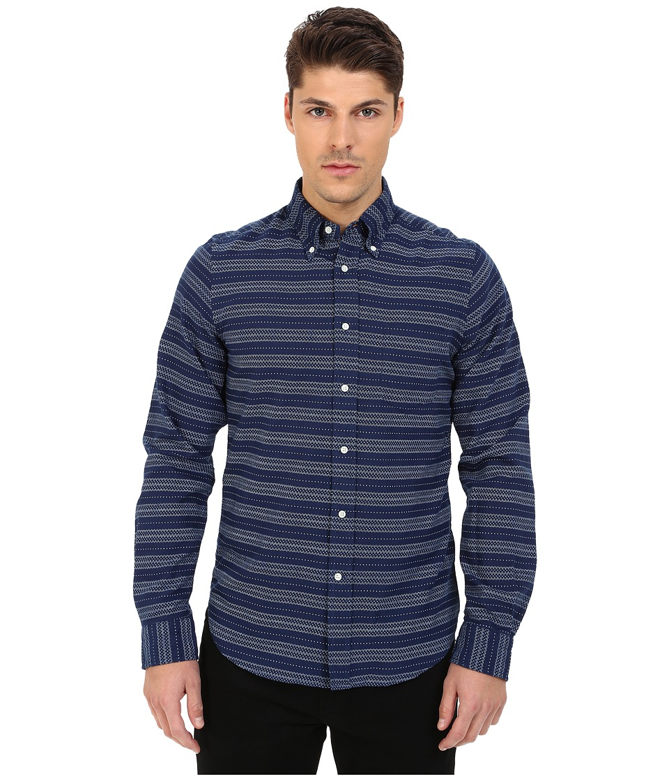 Gant Rugger - R. Printed Indigo Oxford Hugger (Fit) Oxford Button Down (Dark Indigo) Men's Clothing