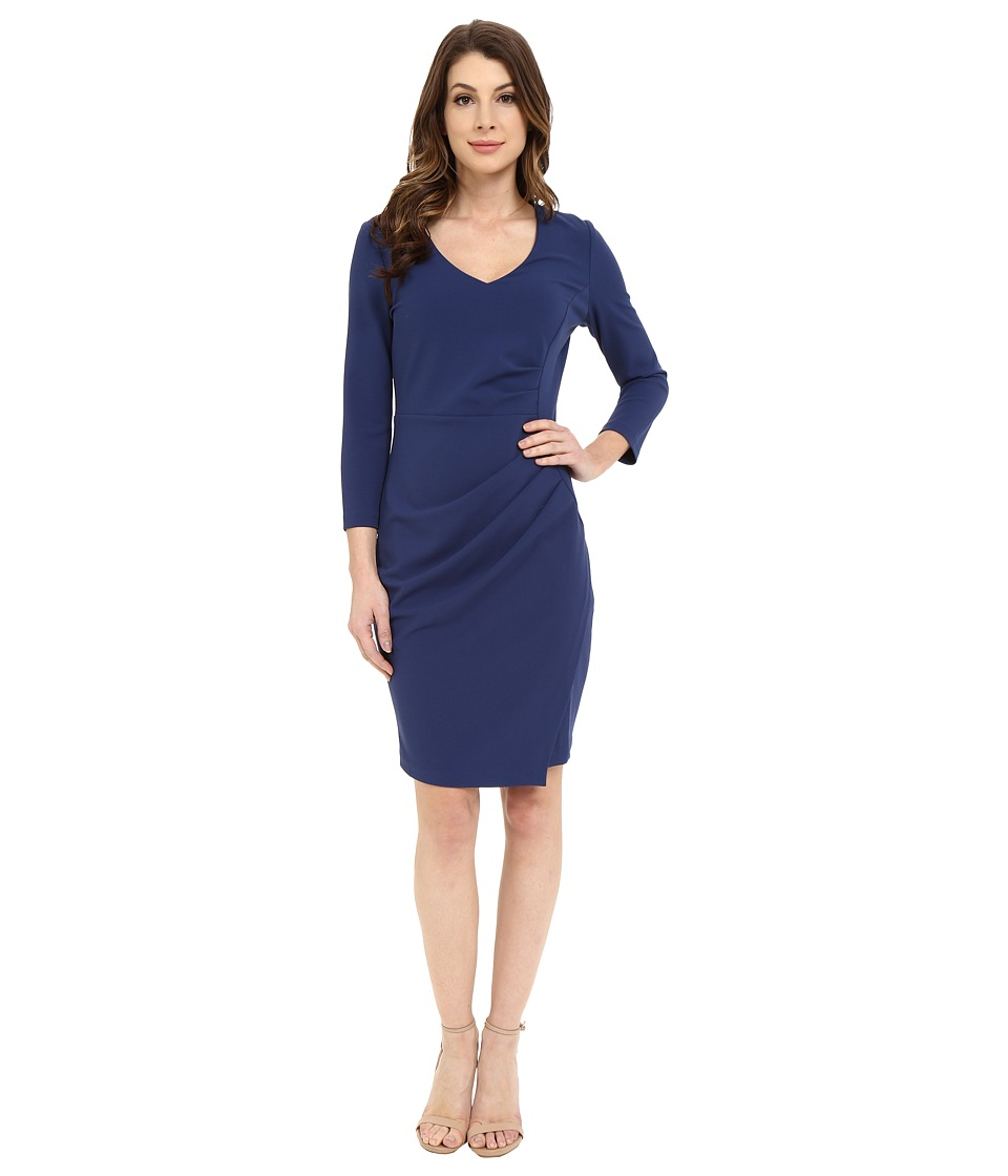 NYDJ - Rosella Stretch Crepe Drape Dress (Indigo Haze) Women's Dress