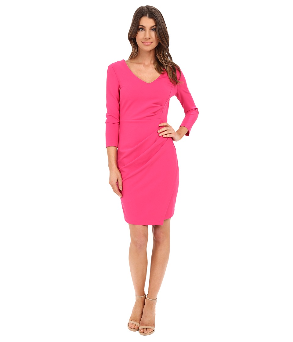 NYDJ - Rosella Stretch Crepe Drape Dress (Fuchsia Rose) Women's Dress