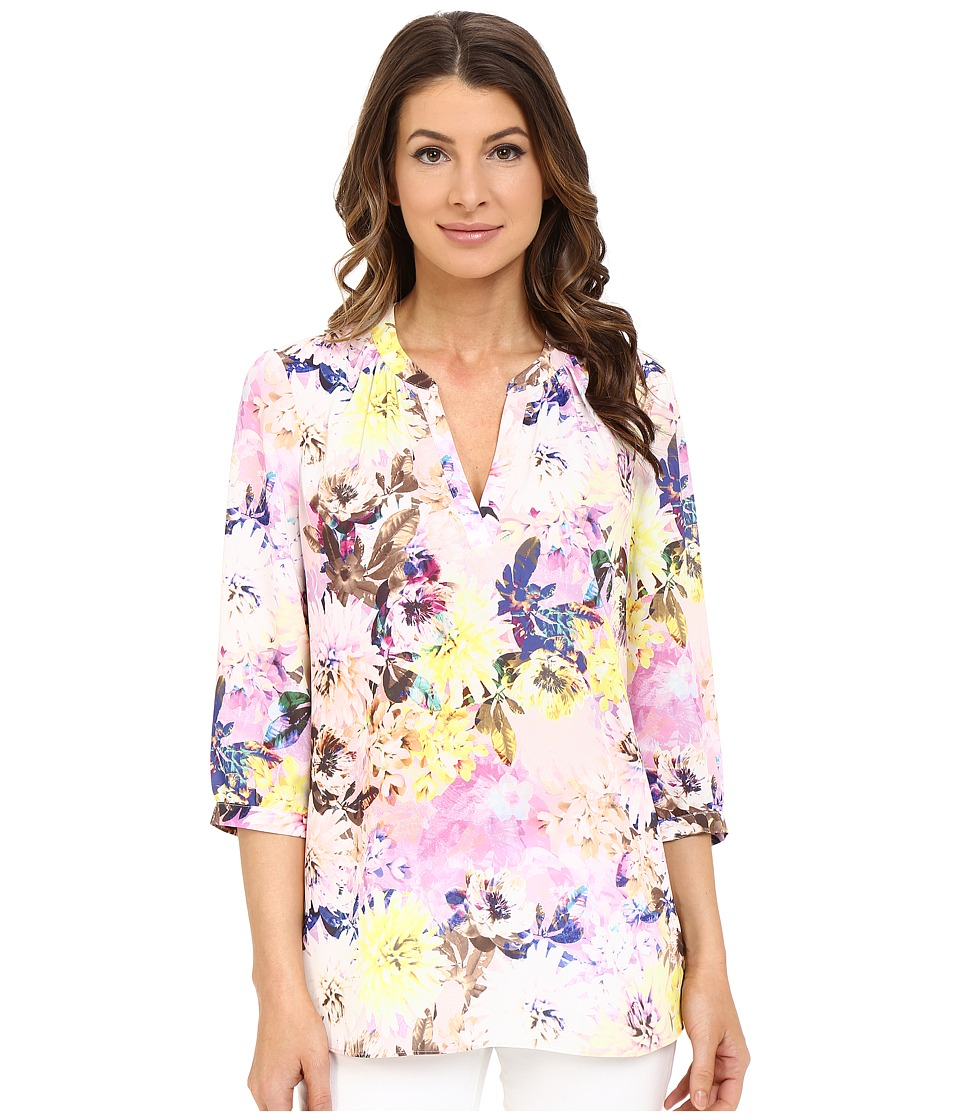 NYDJ - Elbow Sleeve Woven Pop Over (Sunshine Floral) Women's Blouse