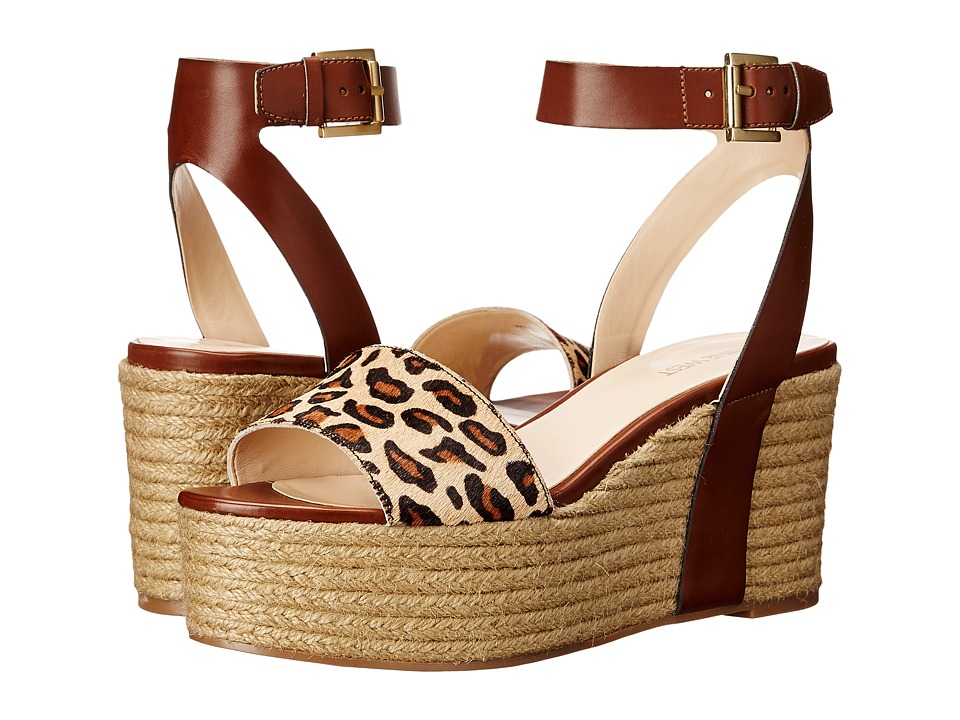 Nine West - Edoile (Cognac/Natural Multi Synthetic) Women's Wedge Shoes
