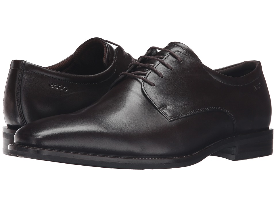 ECCO - Faro Plain Toe Tie (Coffee) Men's Shoes