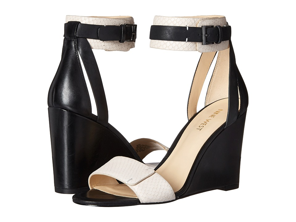 Nine West - Finula (Black/Off-White Leather) Women's Wedge Shoes