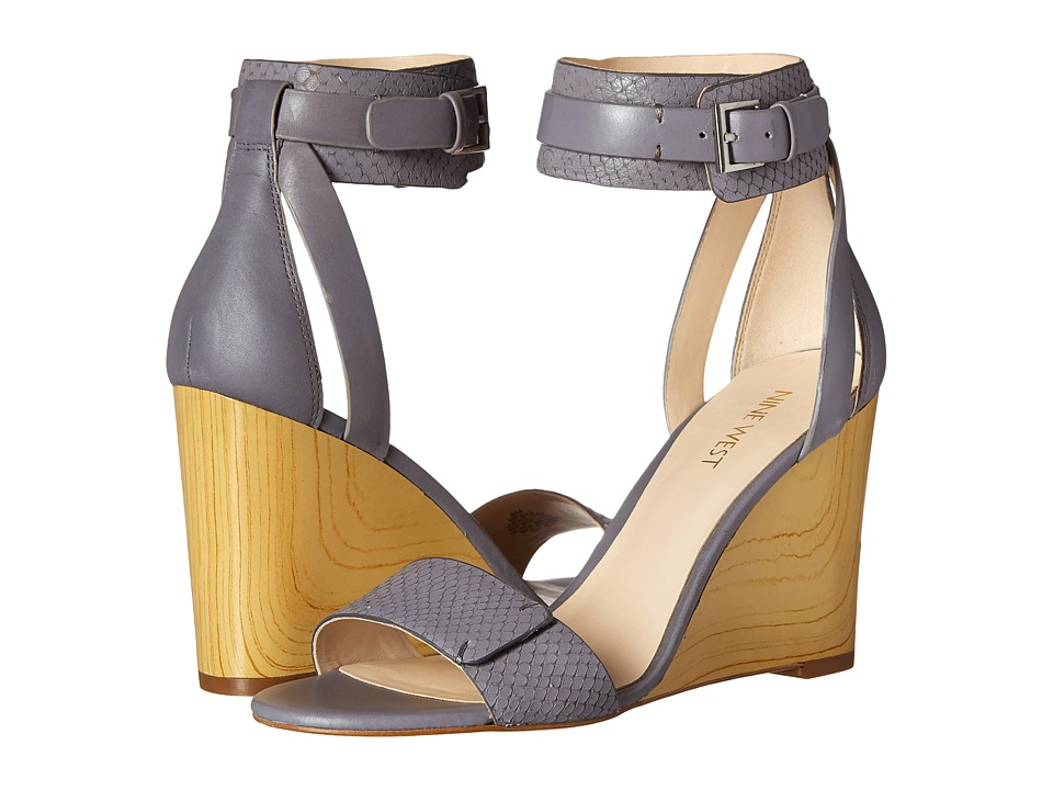 Nine West - Finula (Grey/Grey Leather) Women's Wedge Shoes