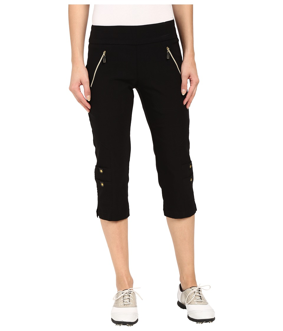 Jamie Sadock - Skinnylicious 28.5 Pedal Pusher (Jet Black with Gold Zippers) Women's Capri