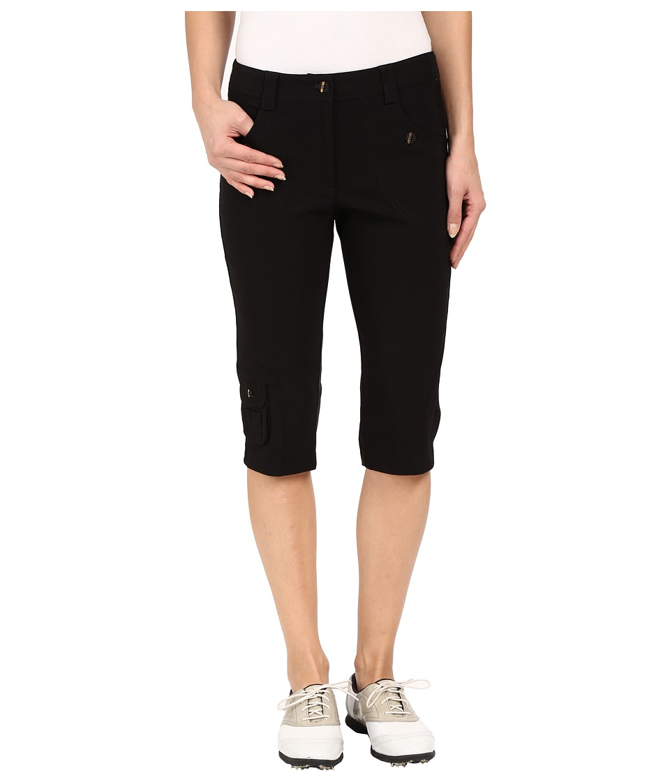 Jamie Sadock - Fly Front 24 Knee Capris (Black with Gold Zippers) Women's Capri