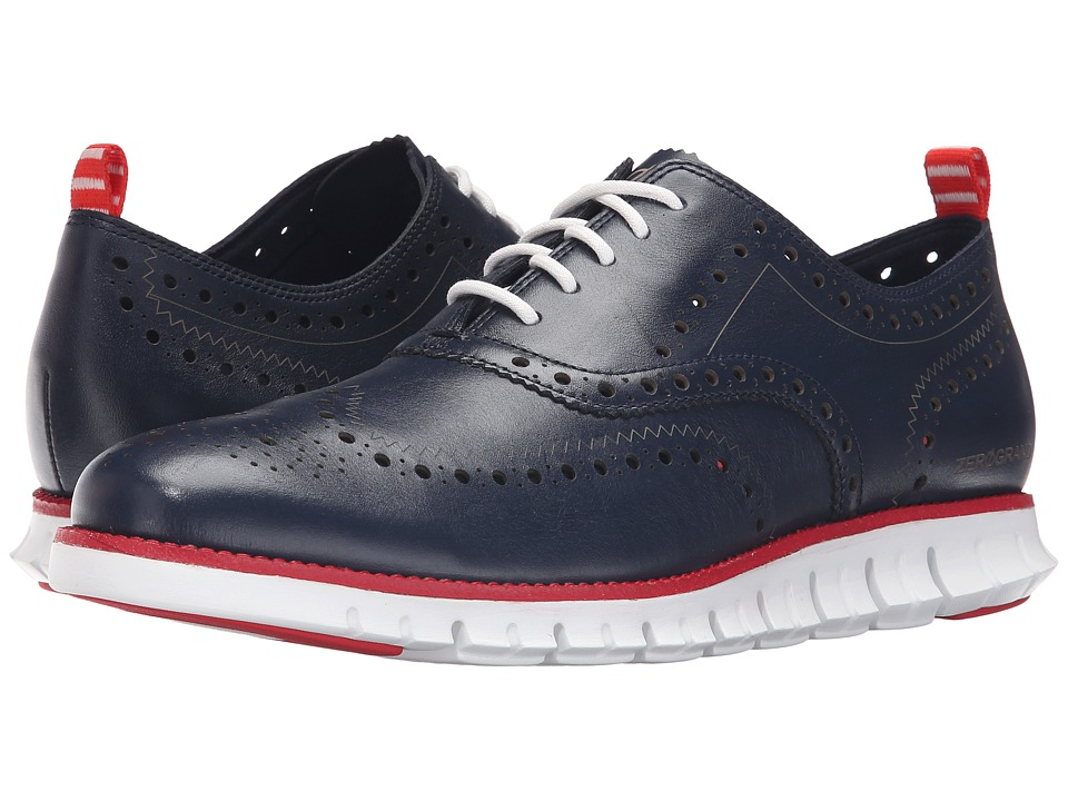 Cole Haan - Zerogrand Wing Ox (Blazer Blue/Tango Red) Men's Lace Up Wing Tip Shoes