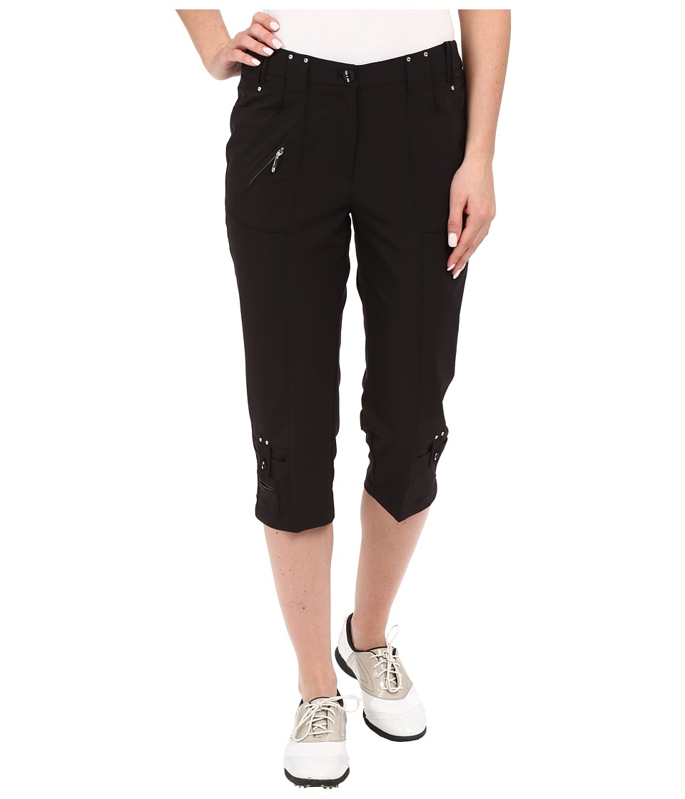 Jamie Sadock - Airwear Light Weight 28.5 Pedal Pusher w/ Front Zipper and Button Closure (Jet Black) Women's Capri