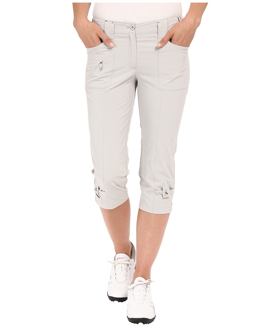 Jamie Sadock - Airwear Light Weight 28.5 Pedal Pusher w/ Front Zipper and Button Closure (Dove Grey) Women's Capri