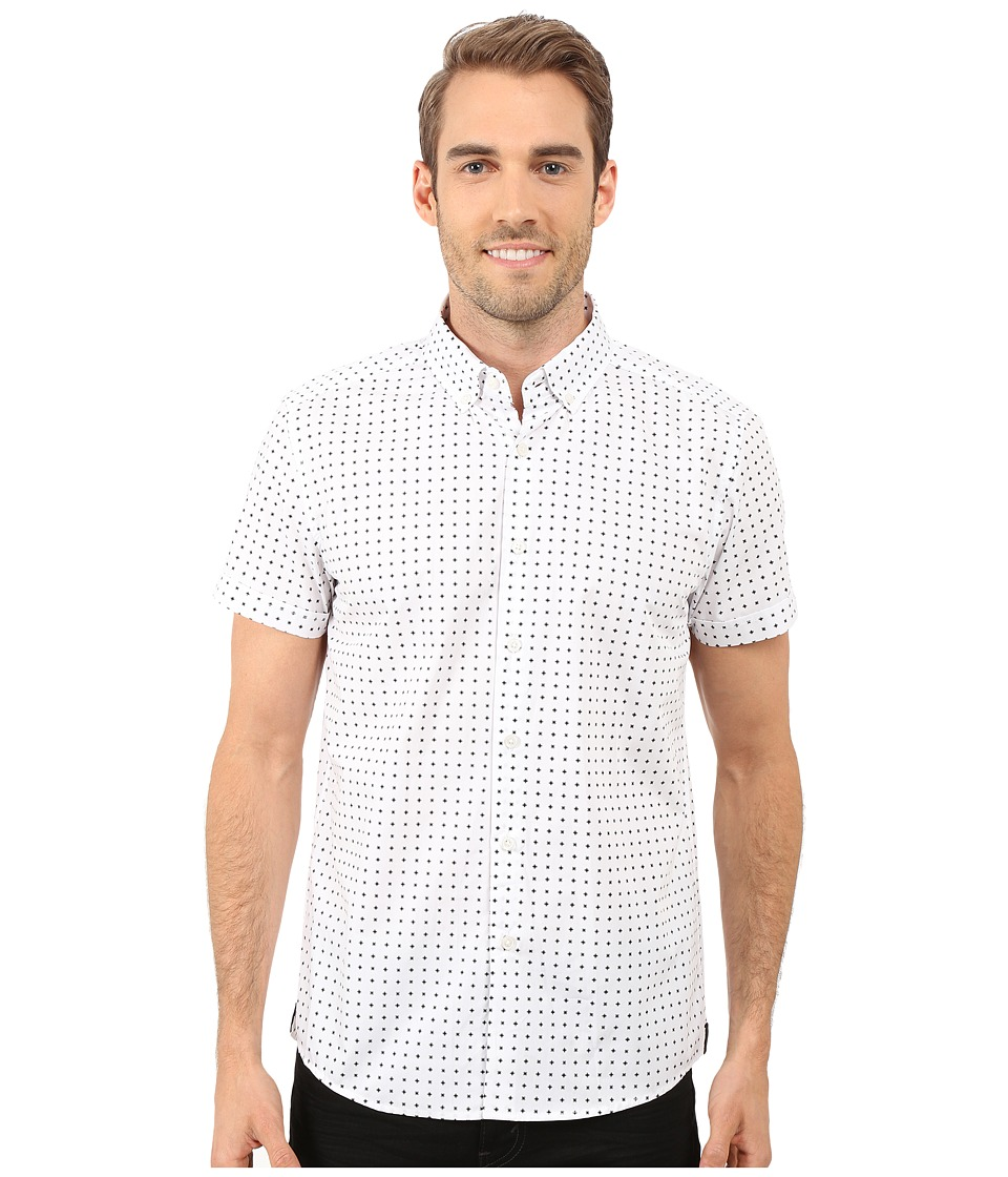 Kenneth Cole Sportswear - Short Sleeve Button Down Collar X Print (White Combo) Men's Short Sleeve Button Up